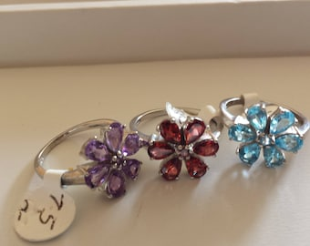 Amethyst Sterling Silver Ring, Rhodium Plated, Natural Gemstone, Amethyst Flower Ring, February Birthstone Ring