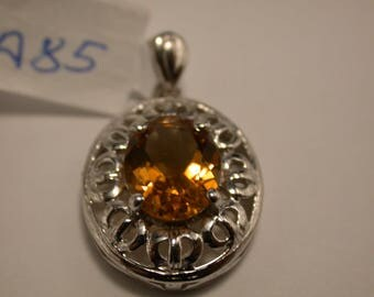 Citrine Sterling Silver Pendant, Rhodium Plated, November Birthstone Pendant