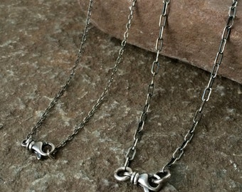 "Sterling Silver Chain, Finished Silver Chain, Link and Cable Chain, 18"" Chain Oxidized Sterling Chain, Silver Chain with Lobster Clasp"