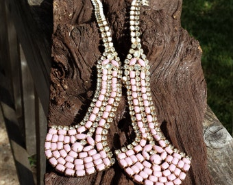 Vintage Hobe elaborate pink, white and rhinestone necklace
