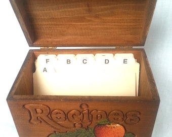 Vintage Handmade Carved Wooden Hinged Lid Box Storage Recipes with Index Cards Retro Country Kitchen Folk Art 1970's