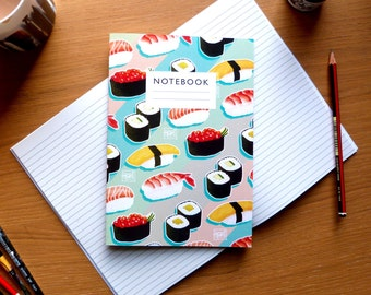 Sushi pattern notebook - Plain or lined paper  |  sketchbook  |  recipe book