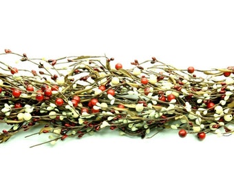 Pip Berry Garland-Red and Cream Christmas Pip Berry Garland-Mixed Berry Garland-Primitive Garland-Primitive Decor-Rustic Decor-Free Shipping