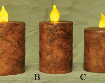 Grungy Pillar Timer Candles-Primitive Candles - Primitive Taper Candles-Rustic Candles-Battery Operated Candles with Timer-Free Shipping
