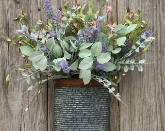 Spring Floral and Pip Berry Arrangement - Spring Floral Decor - Primitive Floral Decor - Spring Floral in Wall Pocket - Free Shipping