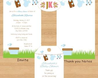 Clotheline Baby Clothesline Baby Shower Boy Printed Invitations