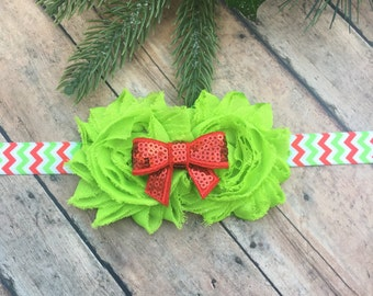 Christmas Headband  - Red and green headband - Baby headband - Newborn headband - Holiday - Headband - Christmas colors - Bow Headband