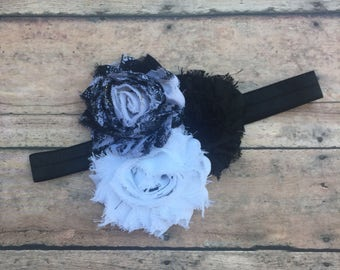 Black and white Headband - Baby Headband - Infant Headband - Newborn Headband - Shabby Chic Headband - Headband - Black and white - Flowers