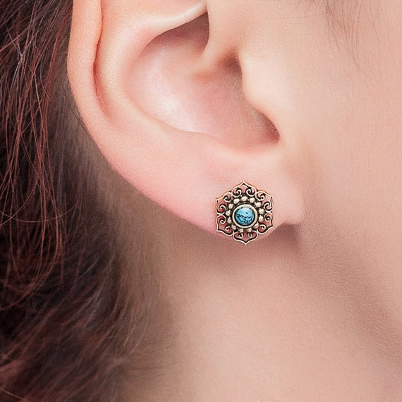 Lotus flower stud earrings with turquoise.