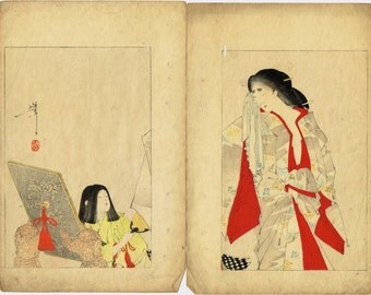 "1891, Japanese antique woodblock print, Tukioka Yoshitoshi, ""The wife of Enya Takasada"""