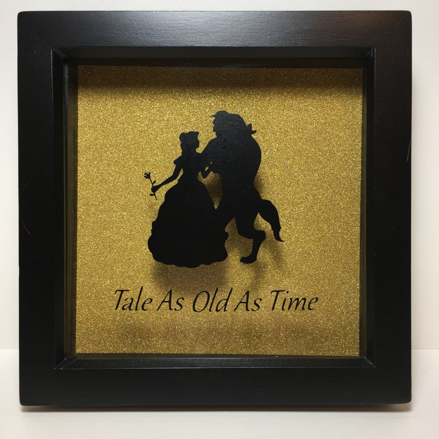 beauty and the beast inspired silhouette box frame