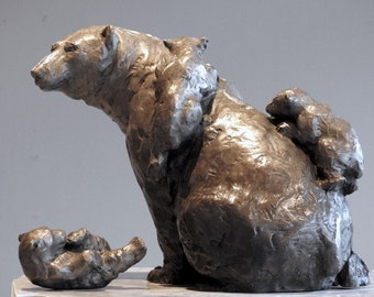 Climbing Mount Mama: Polar Bear family, cast bronze sculpture on marble base by Canadian Artist Kindrie Grove