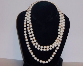 White Bead Wrap Around Necklace 52""