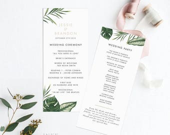 Printable Wedding Program Printable - Tropical Foliage Wedding- Ready to Print PDF- Wedding Ceremony- Letter or A4 Size (Item code: P1013)