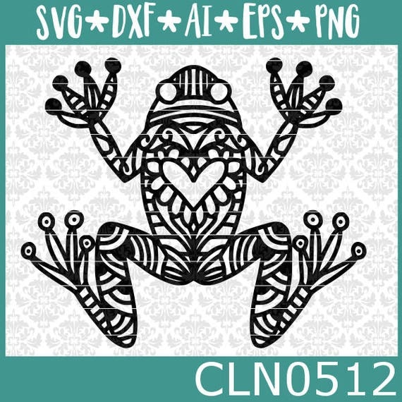 CLN0512 Frog Toad Zentangle Amphibian Lover Tadpole Tree SVG DXF Ai Eps PNG Vector Instant Download Commercial Cut File Cricut SIlhouette