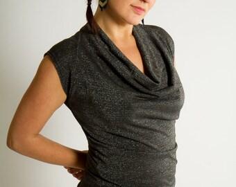 TWIST SILVER metallic spandex lycra fabric draped collar top