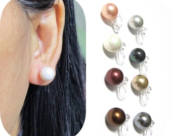 8mm Shell Pearl Clip On Earrings |10A| Invisible clip on stud Comfortable bridal clip-on Wedding clip on earrings Non Pierced Earrings