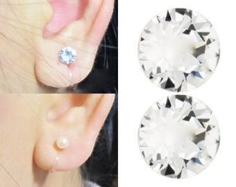Invisible Clip-ons,Clear Swarovski Rhinestone Crystal Clip On Earrings,Wedding Bridal Stud Clip Earrings, Non Pierced Magnetic Earrings Alt