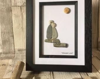 "Handmade Pebble Art ""Simple Love"", Pebble Art Love, Pebble Picture Lovers, Pebble Gifts, Framed Pebble Pictures, Wedding Gift"
