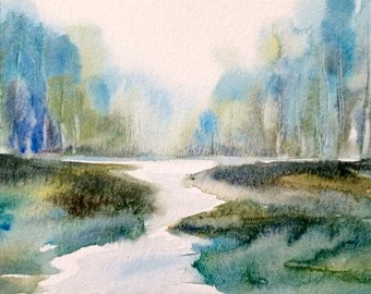 Forest, Misty forest, River landscape, Misty trees, Misty woodland, watercolor trees, Misty landscape, woodland, tree painting, River