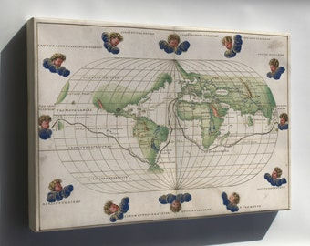 Canvas 24x36; Map Of The World 1544