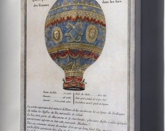 Canvas 24x36; Montgolfier Brothers Hot Air Balloon 1786 Depiction Of The Montgolfier Brothers' Historic Balloon With Engineering Data