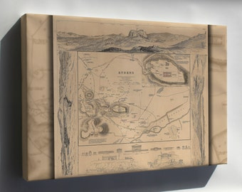 Canvas 24x36; Map Of Athens Greece 1832