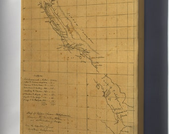 Canvas 24x36; Map Of California Military Stations 1847