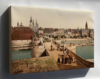 Canvas 24x36; Old Main Bridge And Town, Wurzburg, Bavaria, Germany 1890