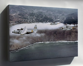 Canvas 24x36; C-130 Hercules & Hh-3E Jolly Green Giant H-3 Helicopters 1979