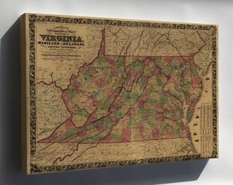 Canvas 24x36; Topography Map Virginia Maryland Delaware 1864 P2