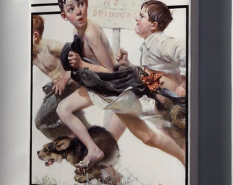 Canvas 16x24; No Swimming By Norman Rockwell 1921
