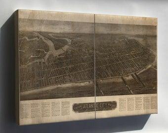 Canvas 16x24; Aero View Map Of Atlantic City, New Jersey 1910