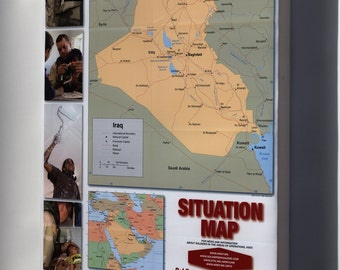 Canvas 16x24; Iraq, Situation Map Us Army 2004