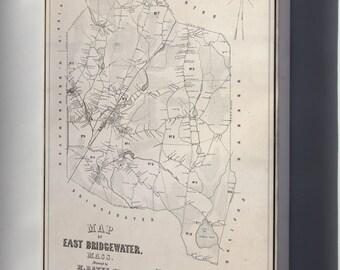 Canvas 16x24; Map Of East Bridgewater, Massachusetts 1848