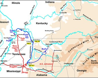 16x24 Poster; Map Of Western Theater Of The American Civil War, From Belmont To Shiloh