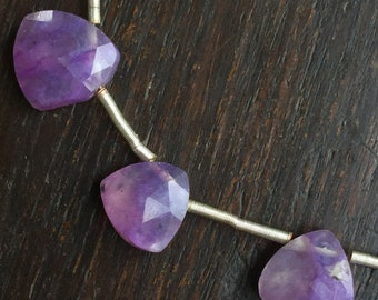 Charoite Faceted Triangle Briolette Beads 8 inch Strand 14 Pieces