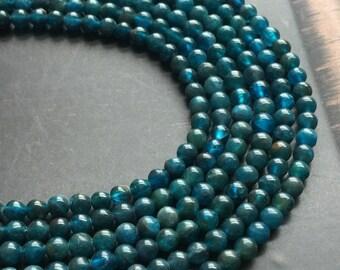Apatite 4mm Round Teal Gemstone Beads Grade A Full Strand