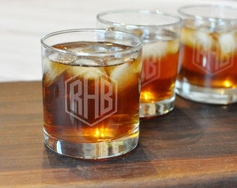 Monogrammed Whiskey Glass - One Glass - Custom Groomsman Glass - Etched Scotch Glass - Old Fashioned Glass - Engraved Rocks Glass