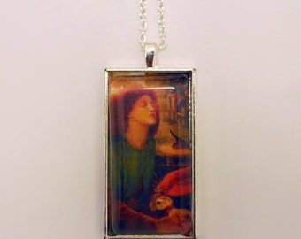 Pre Raphaelite necklace featuring Beata Beatrix by Dante Gabriel Rossetti, glass pendant on leather cord/silver plated chain (both included)