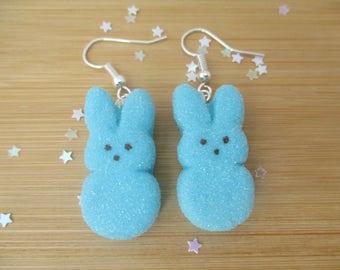 Blue Bunny Peeps Earrings, Handmade Polymer Clay Kawaii