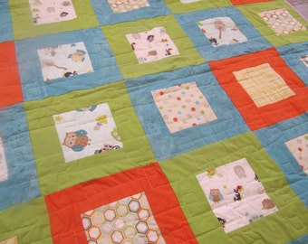 Baby boy quilt -  toddler quilt - homemade quilt - patchwork quilt - crib quilt - blue quilt - baby shower gift