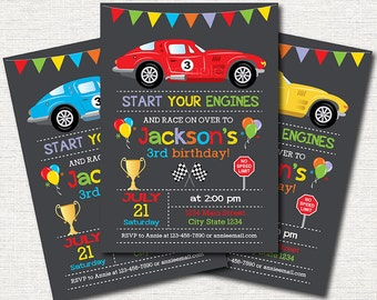 Race Car Birthday Invitation, Race Invitation, Racing Car Invite, red, blue, yellow, printable