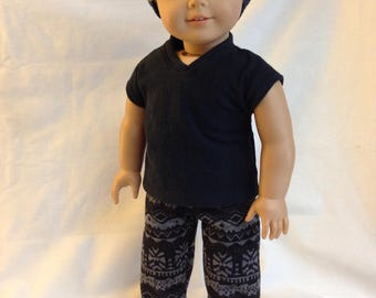 Black and gray patterned jogger pants 18 inch doll clothes boy doll clothes