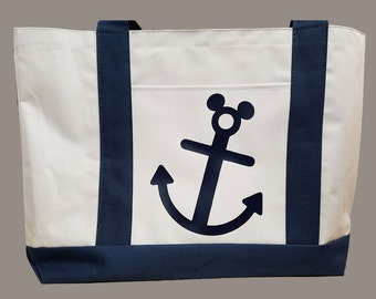 Disney Cruise Line DCL Inspired Boat Tote Navy Optional Personalization Fish Extender FE Gift