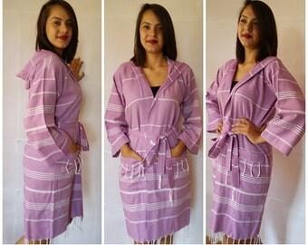 Turkish kimono robe,Bachelorette party robe,peshtemal long bathrobe,hooded long sleeve bathrobe