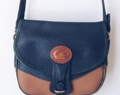 Authentic Dooney and Bourke Crossbody Bag, Navy and Brown