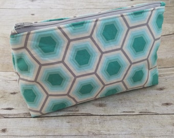 Honey Comb Teal Cosmetic Bag. Cosmetic Case, Cosmetic Pouch, Cosmetic Organizer, Zipper Pouch, Zipper Bag, Make up bag, Small Zipper Bag