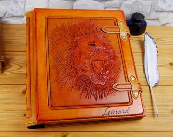 Large Leather Folio Custom Personalized Handmade Journal Notebook Sketchbook Gift TiVergy Book