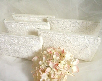 Set of 5 - Ivory Satin Clutch - Ivory Lace Clutch - Wedding Clutch - Sequin Clutch - Bridesmaid Clutch - Ivory Sequin Lace Clutch